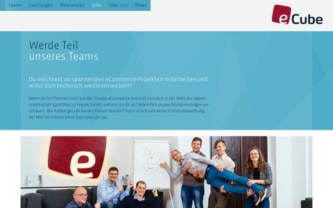 Screenshot of Jobs Page ecube.de - eCube – Enterprise Commerce - captured July 2, 2017
