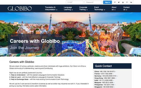 Screenshot of Jobs Page globibo.com - Your Career at Globibo - captured July 21, 2018