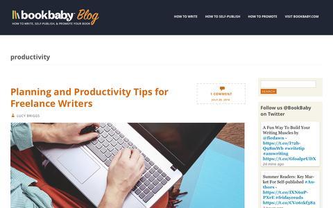 Screenshot of Blog bookbaby.com - productivity | BookBaby Blog - captured Feb. 27, 2017