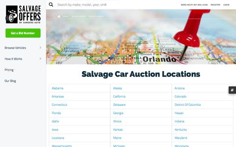 Screenshot of Locations Page thecustomconcierge.com - Salvage Car Auction Locations - captured Jan. 11, 2016
