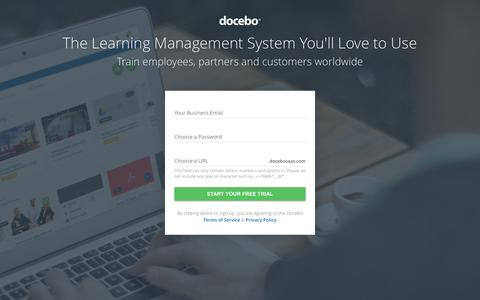 Screenshot of Trial Page docebo.com - Learning Management System for formal and informal learning - captured July 4, 2016