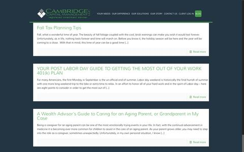 Screenshot of Blog camcapmgt.com - Helpful Tips on Managing Your Wealth | From Our Blog - captured Oct. 20, 2016