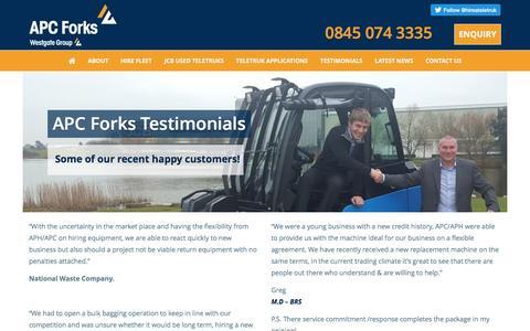 Screenshot of Testimonials Page hireajcbteletruk.co.uk - Testimonials - JCB Teletruk Hire UK JCB Teletruk Hire UK - captured Nov. 19, 2016