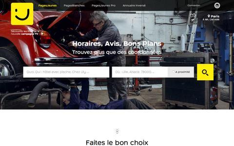 Screenshot of Home Page pagesjaunes.fr - PagesJaunes : Trouvez plus que des coordonnŽes avec l'annuaire des professionnels - captured Jan. 13, 2016