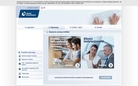 Screenshot of Menu Page union-investment.pl - Rejestracja - captured Feb. 16, 2016