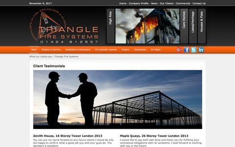 Screenshot of Testimonials Page trianglesprinklersystems.co.uk - Testimonials   Triangle Fire Systems - captured Nov. 9, 2017