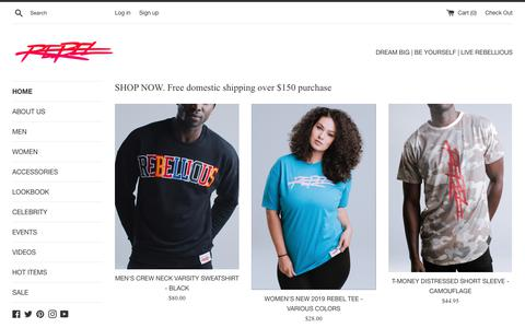 Screenshot of Home Page rebelliousco.com - Activewear   Streetwear   Lifestyle branded clothing – REBELLIOUS CLOTHING CO. - captured July 20, 2019