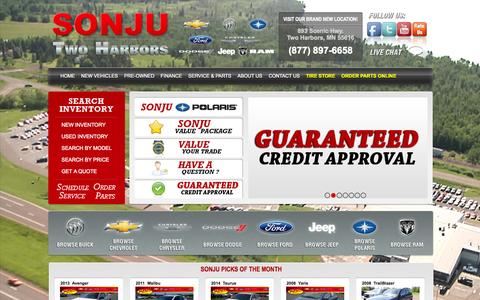 Screenshot of Home Page sonju.com - Ford Chevrolet Dealer Two Harbors, MN | New & Used Auto Dealer | Polaris Dealer - captured Oct. 6, 2014