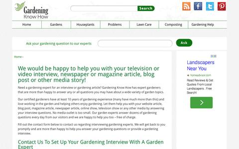 Screenshot of Press Page gardeningknowhow.com - Media Inquiries For Gardening Experts And Gardener Interviews  Gardening Know How - captured Sept. 18, 2014