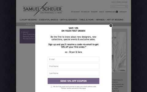 Screenshot of About Page scheuerlinens.com - About Samuel Scheuer - Luxury Bed Linens since 1935 - captured Feb. 4, 2016
