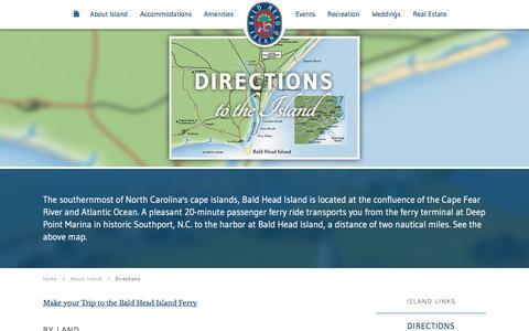 Screenshot of Maps & Directions Page baldheadisland.com - Bald Head Island Directions & Map - captured Jan. 15, 2016