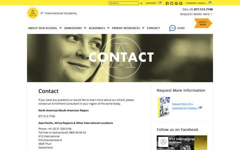 Screenshot of Contact Page icademy.com - Contact Us | Request More Information | K12 International Academy - captured June 11, 2018