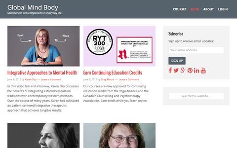 Screenshot of Blog globalmindbody.org - Blog | Global Mind Body - captured July 14, 2016