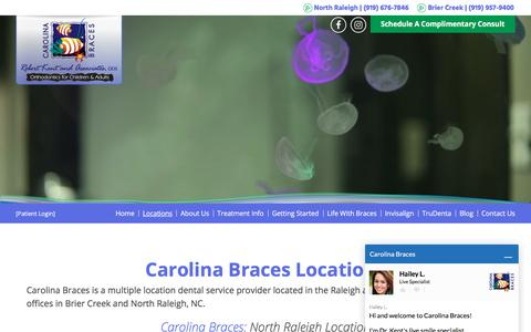 Screenshot of Locations Page carolinabraces.com - Orthodontist Office Locations | Brier Creek | North Raleigh | Carolina Braces - captured July 2, 2018