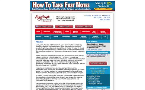 Screenshot of About Page easyscript.com - Learn quickly to take fast & legible notes at meetings, in school & on the phone. Use immediately. - captured June 15, 2016