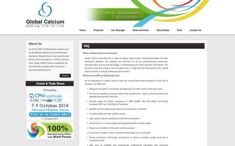 Screenshot of FAQ Page globalcalcium.com - Calcium Suppliers: Calcium Gluconate, Calcium & Mineral Salts - Global Calcium - captured Sept. 27, 2014
