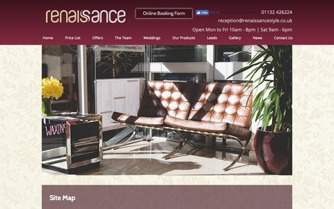 Screenshot of Site Map Page renaissancestyle.co.uk - Wedding Hair Leeds, Hair Salon Leeds, Hairdressers Leeds, Site Map - captured Oct. 18, 2018