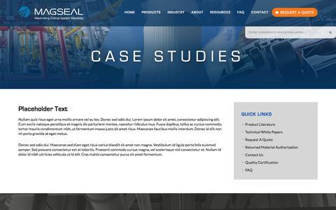 Screenshot of Case Studies Page magseal.com - Case Studies   MAGSEAL - captured Oct. 5, 2017