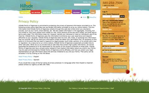 Screenshot of Privacy Page hillside.com - Hillside Privacy Policy - captured Sept. 24, 2014
