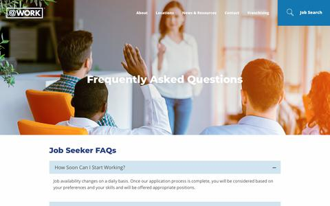 Screenshot of FAQ Page atwork.com - Frequently Asked Questions About AtWork Group | AtWork - captured Aug. 20, 2018