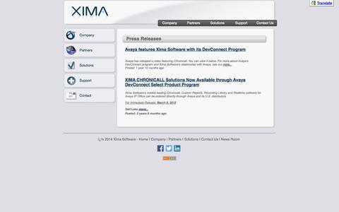 Screenshot of Press Page ximasoftware.com - Xima Software - News Releases - captured Oct. 9, 2014