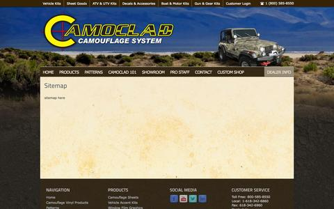 Screenshot of Site Map Page camoclad.com - Sitemap - captured Oct. 1, 2014