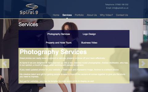 Screenshot of Services Page spiral9.co.uk - Video Services » Spiral 9 - captured Oct. 6, 2014