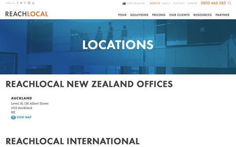 Screenshot of Locations Page reachlocal.com - SEO Agency NZ, Online Marketing Auckland | ReachLocal - captured Dec. 28, 2016