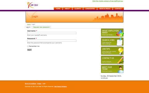 Screenshot of Login Page law-staff.com.au - Login - Lawstaff - captured Sept. 29, 2014