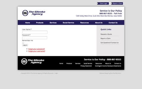 Screenshot of Login Page theglienkeagency.com - The Glienke Agency - captured Oct. 7, 2014