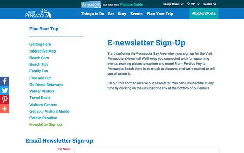 Screenshot of Signup Page visitpensacola.com - Newsletter Sign up - captured Nov. 1, 2016
