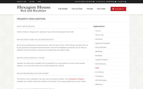 Screenshot of FAQ Page hexagonhouse.com - West Michigan Bed and Breakfast | Hexagon House - captured June 21, 2016