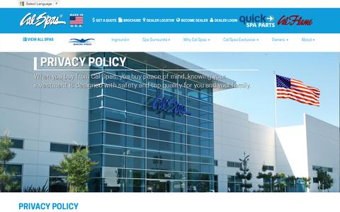 Screenshot of Privacy Page calspas.com - Privacy Policy at Calspas.com - captured April 14, 2016