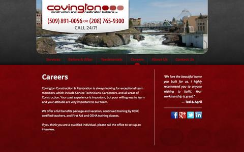 Screenshot of Jobs Page ccnr.biz - Careers | Covington Construction & Restoration - captured Oct. 27, 2014