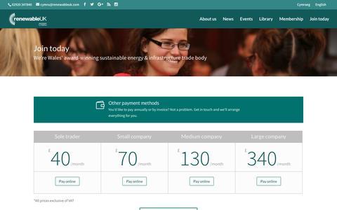 Screenshot of Signup Page renewableuk-cymru.com - Join today | RenewableUK Cymru - captured Dec. 16, 2016