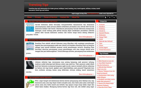 Screenshot of Home Page tiketips.com - Traveling Tips - captured Sept. 23, 2014