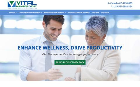 Screenshot of Home Page vitalmanagementinc.com - Vital Management | Customized Corporate Health & Fitness Apps, Wellness Programs, Risk Management Services, Biometric Screenings & Health Assessments - captured Feb. 28, 2016