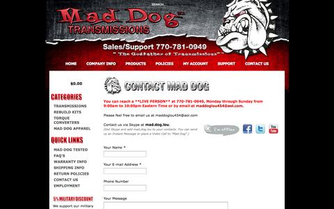 Screenshot of Contact Page maddogtransmissions.com - Contact Us - captured Oct. 4, 2014