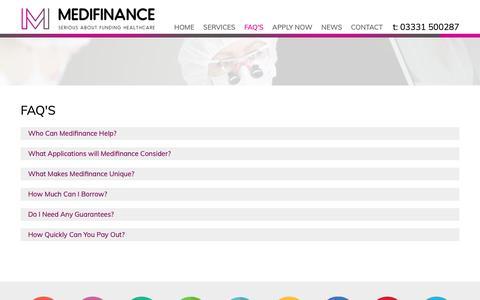 Screenshot of FAQ Page medifinance.co.uk - FAQ's | Questions | Medifinance Help | Contact - Medifinance Ltd - captured Oct. 17, 2018
