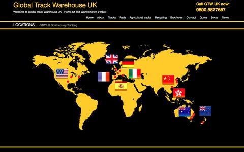 Screenshot of Locations Page gtweurope.co.uk - Rubber track, steel track, rubber pad supplier - Global Track Warehouse - captured Nov. 9, 2016
