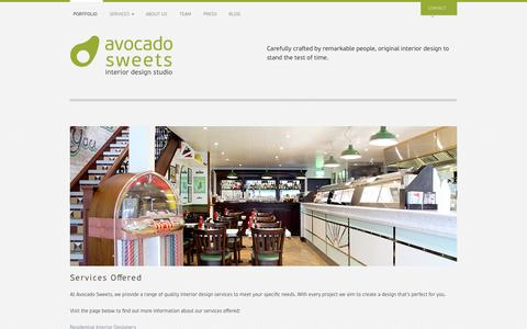 Screenshot of Site Map Page avocadosweets.com - List of Interior Design Services Offered - Avocado Sweets - captured Oct. 4, 2014
