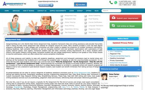 Screenshot of Home Page assignmenthelp.net - Assignment Help   Homework Help   Writing Help - captured Dec. 18, 2018