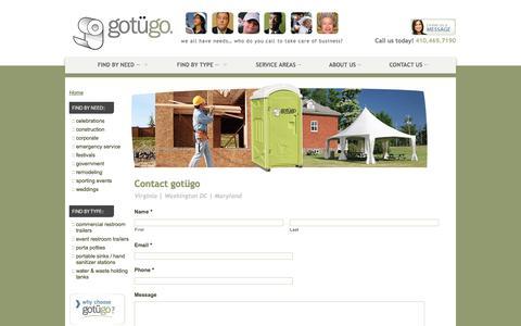 Screenshot of Contact Page gotugo.com - Contact Us | gotügo - captured July 25, 2018
