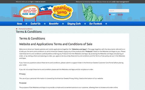 Screenshot of Terms Page americansweets.co.uk - Terms and Conditions - captured Sept. 1, 2016