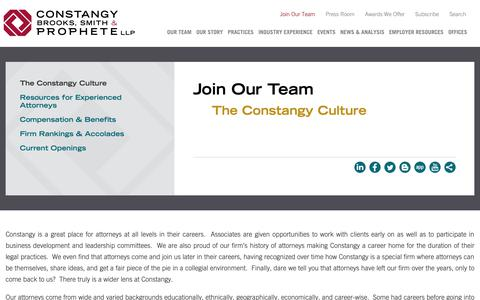 Screenshot of Signup Page constangy.com - The Constangy Culture: Constangy Brooks, Smith & Prophete LLP - captured Sept. 29, 2018