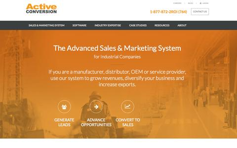Screenshot of Home Page activeconversion.com - Leading Industrial Online Marketing System - ActiveConversion - captured Sept. 12, 2015