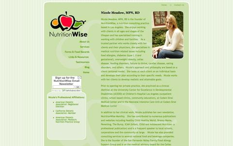Screenshot of About Page nicolemeadow.com - NutritionWise - captured Oct. 6, 2014