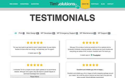 Screenshot of Testimonials Page timoxendale.co.uk - Reviews & Testimonials ⭐ | Tim's Solutions - captured May 29, 2019