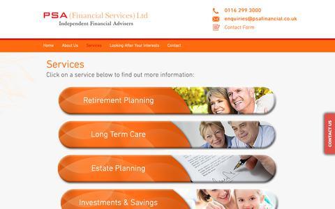 Screenshot of Services Page psafinancial.co.uk - PSA (Financial Services) Ltd | Financial Advice | Services - captured Nov. 9, 2018