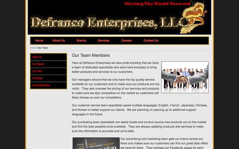 Screenshot of Team Page defrancoenterprises.com - Our Team - captured Oct. 24, 2014